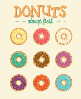 Красочные иллюстрации пончики