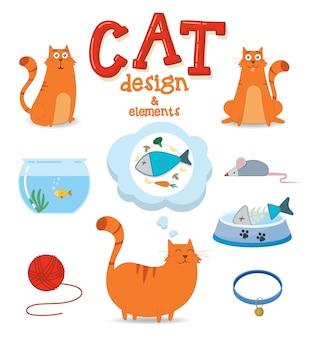 Симпатичный дизайн кошка с элементами