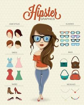 ヒップスターの女の子キャラクター