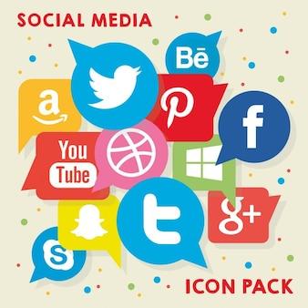 Социальные медиа пакет значок