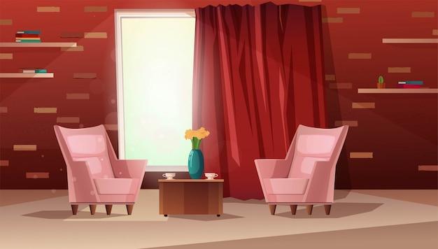 Иллюстрация шаржа роскошной живущей комнаты. интерьер с шторами и мебелью, кирпичная стена, полки для книг, цветы в вазе.