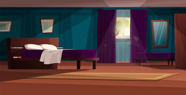 Интерьер спальни современный с иллюстрацией шаржа мебели. двуспальная кровать со шкафами, окно с занавеской, комод, ковер, зеркало. симпатичный уютный фон.