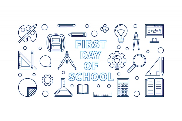 初日学校概念線形ベクトルバナー