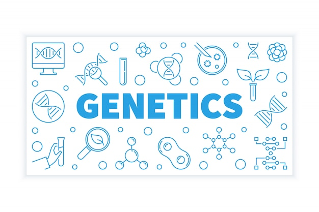 遺伝学ベクトル青い水平方向の図