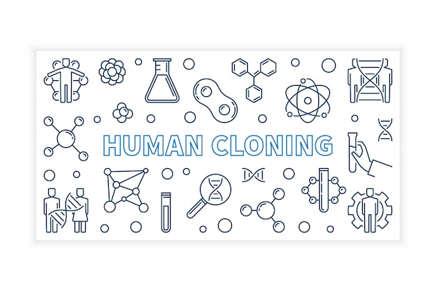 人間のクローニングベクトルアウトラインバナー