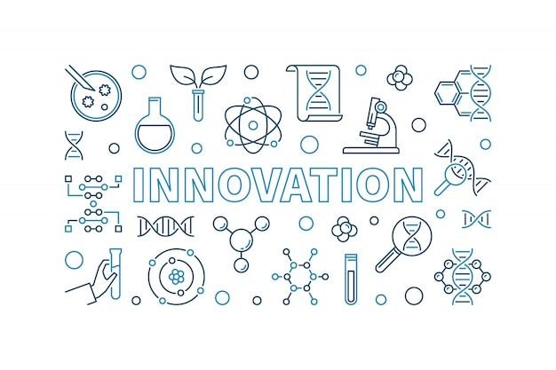 イノベーションベクトルアウトラインクリエイティブバナー