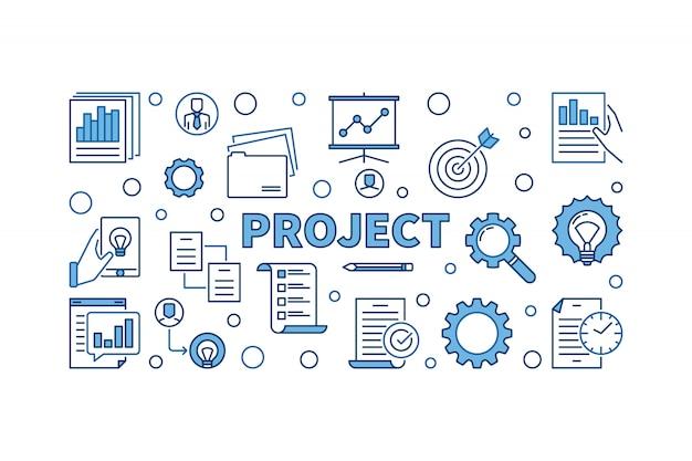 Концепция проекта вектор бизнеса горизонтальные иллюстрации или баннер на белом фоне