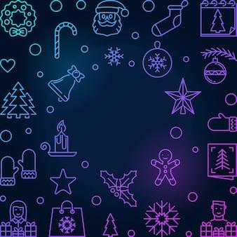 Рождество и новый год вектор квадратный контур кадра