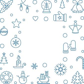 Рождество и новый год квадратный векторный контур рамки