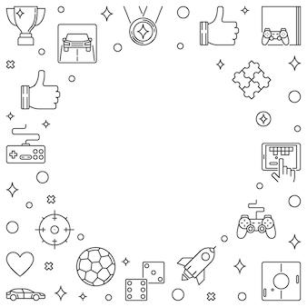 ゲームおよびビデオゲームのアウトラインフレーム。ゲーマーのベクトル図