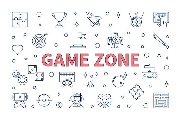 細い線スタイルのゲームゾーンベクトル概念図