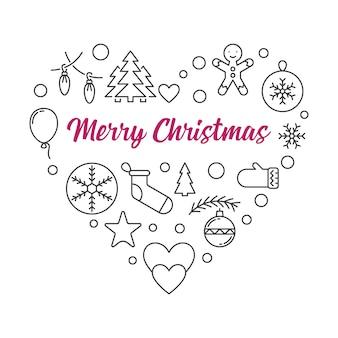 Сердце рождественские иконки наброски. векторная иллюстрация рождеством