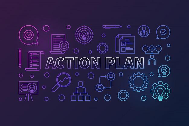 План действий горизонтальный креативный контур баннера