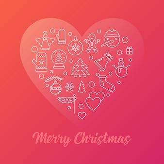 Счастливого рождества красочные современные векторные иллюстрации линия
