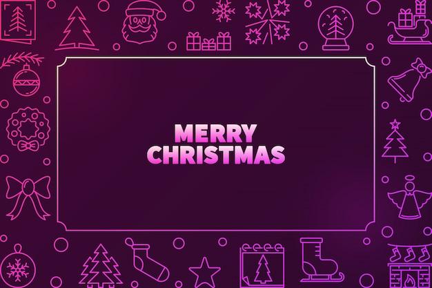 Счастливого рождества вектор красочная рамка в стиле структуры
