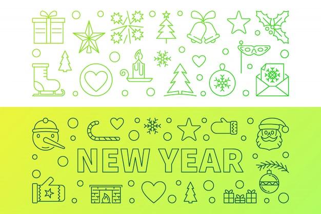 Новый год векторный контур зеленые современные векторные баннеры