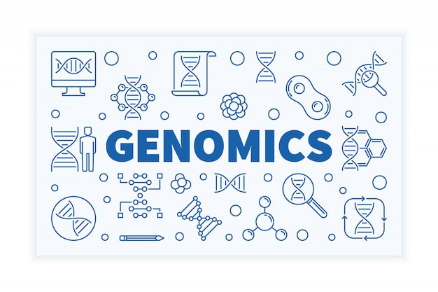 Геномика горизонтальный контур науки баннер