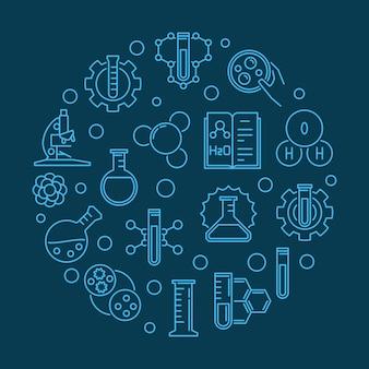 Наука и химия круглый синий контур иллюстрации