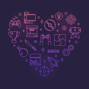 Видеоигры в красочном сердце