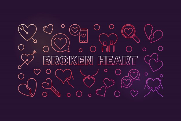 Разбитое сердце концепции цветной контур иллюстрации