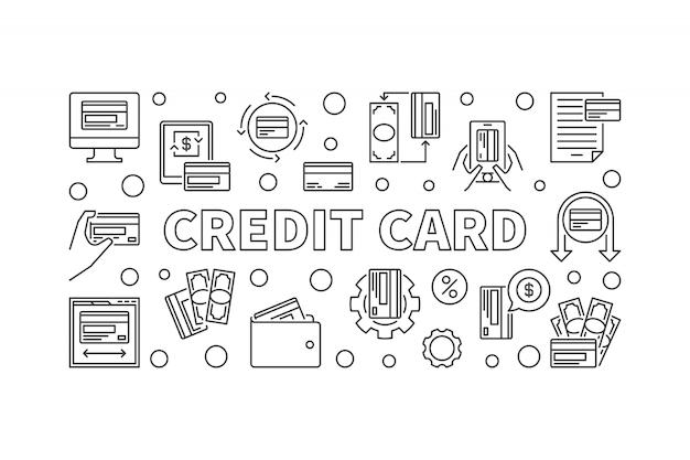 Кредитная концепция автомобиля баннер в стиле тонкой линии. иллюстрация