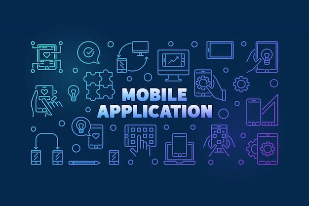 Мобильное приложение наброски цветной горизонтальный баннер