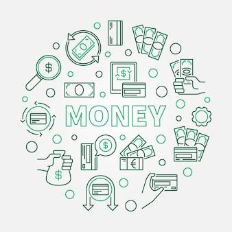 Деньги концепция круглая иллюстрация сделаны наброски иконы