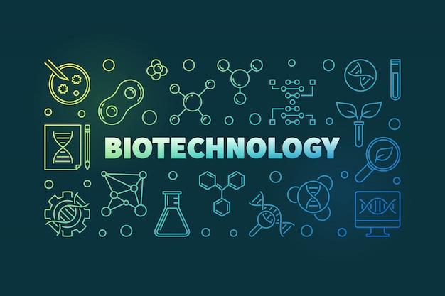 バイオテクノロジーベクトルカラフルなアウトラインバナー