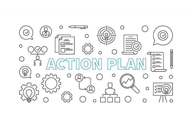План действий горизонтальный контур значок иллюстрации