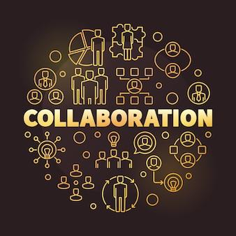 Бизнес сотрудничество золотой круглый контур значок иллюстрации
