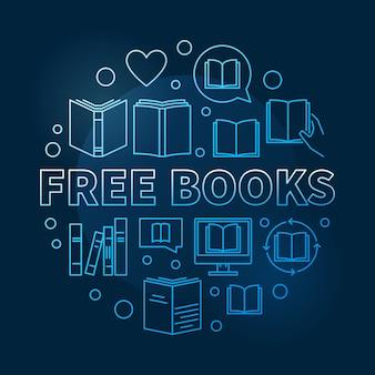 無料の本の概念青い円形のアウトラインアイコンイラスト