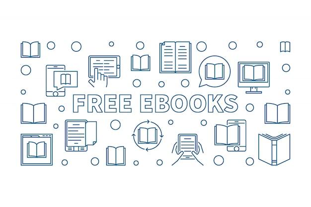 アウトラインスタイルの無料の電子書籍の水平アイコンイラスト