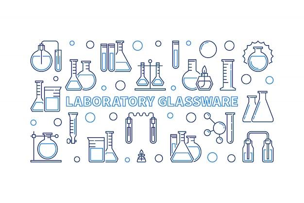 Лабораторная посуда синий контур горизонтальный значок иллюстрации