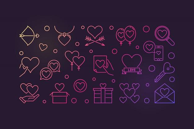 愛と感情の色付きのアウトラインアイコンイラスト