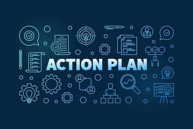 План действий горизонтальный синий контур баннера или иллюстрации на темном фоне