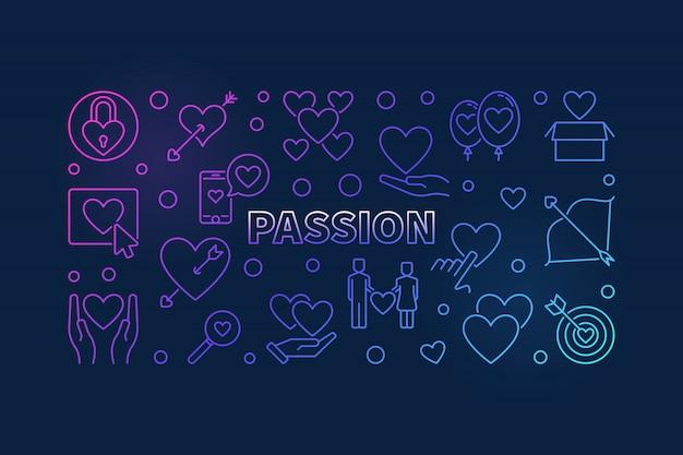 情熱の色付きの線アイコンイラスト。モダンなバナーが大好き