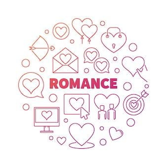 ロマンスコンセプトカラフルな丸いアウトラインアイコンイラスト