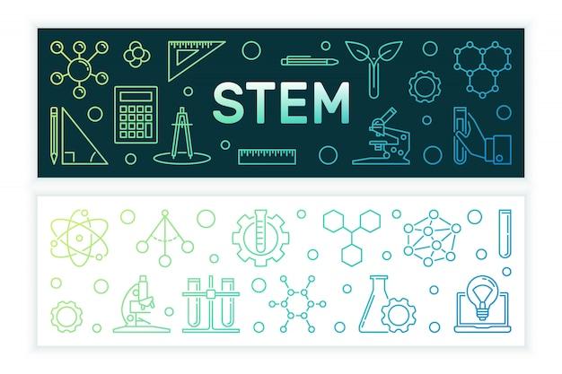 Наука, технология, инженерия и математика цветные баннеры