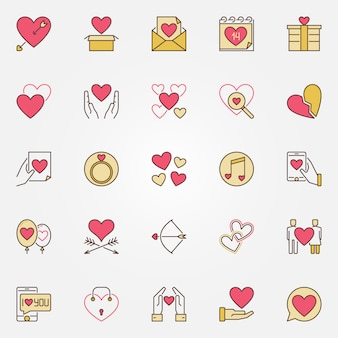 День святого валентина цветные иконки набор. люблю современные знаки