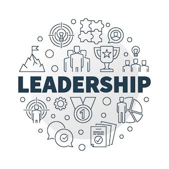 Лидерство круглый значок иллюстрации в стиле структуры