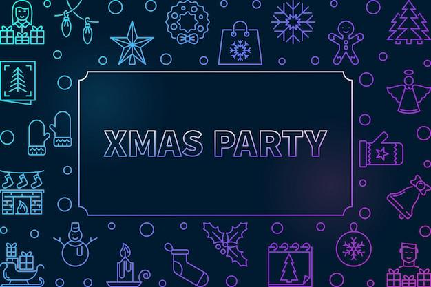 クリスマスパーティーアウトライン色フレームアイコンイラスト