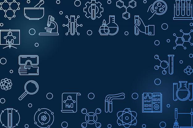 Химия синий горизонтальный контур современная рамка