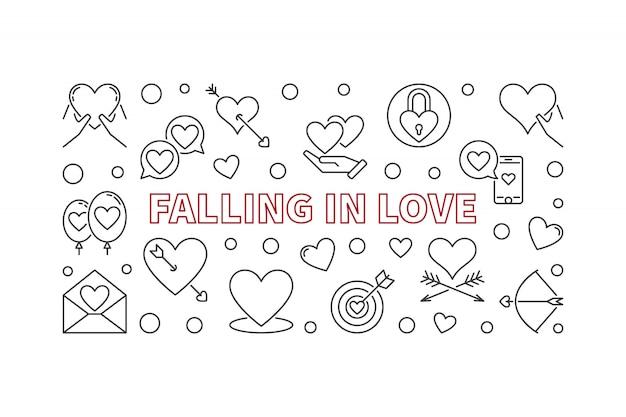 恋に落ちる細い線スタイルの水平図