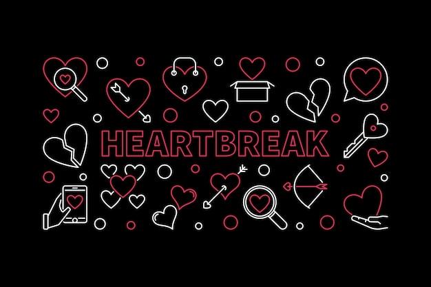 Горизонтальная иллюстрация разбитого сердца в стиле тонкой линии