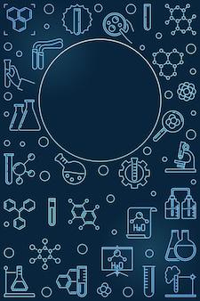 細い線スタイルの化学青い垂直図