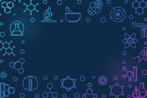 アウトラインスタイルの化学ベクトルカラフルな水平方向のフレーム