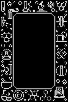 Темные химические вертикальные значки контура