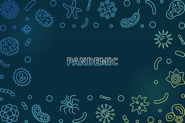 Концепция пандемии цветные линейные иконки