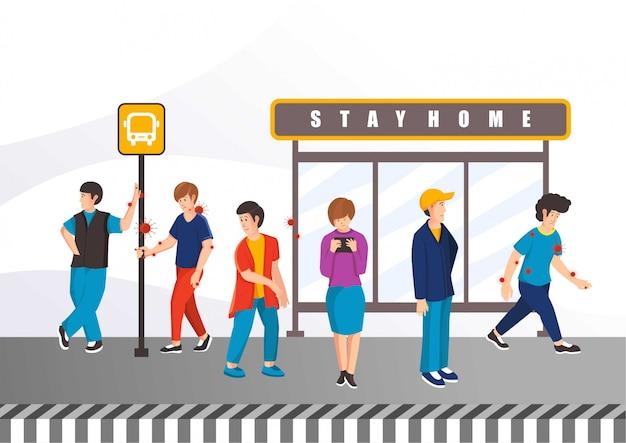 Народы с вирусом на автобусной остановке