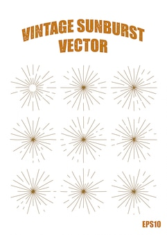ビンテージサンバーストベクトル要素、分離イメージ